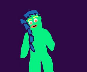 cool female Gumby has blue hair
