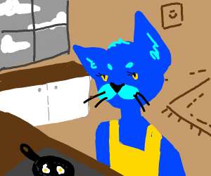 Blue cat making eggs