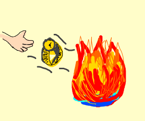 Watch being thrown into fire