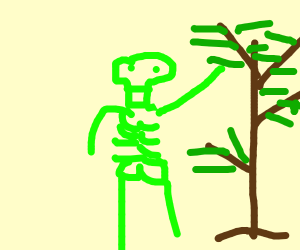 Green skeleton plucking a leaf from a tree