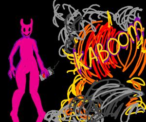 Pink devil man makes a kaboom