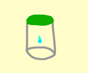 a sad water droplet in a container