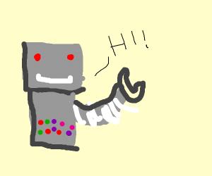 robot saying hi