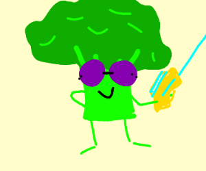 Broccoli with retro glasses and Raygun