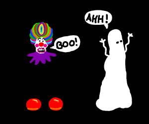 short short wearing clown, surprises ghost