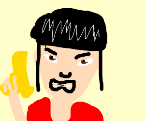 angry asian girl holding yellow pistol