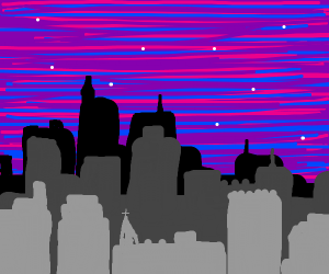 City with Purple Sky