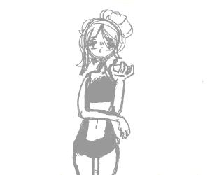 girl in a bikini holding a cocktail