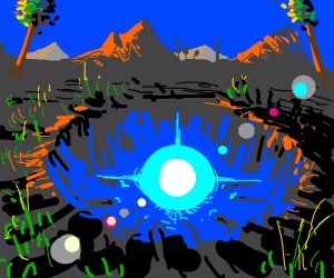 a pit with a glowing blue orb inside it