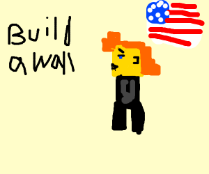 Pixelated red-headed trump says build a wall