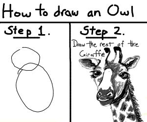 How to draw an owl, step 2 giraffe