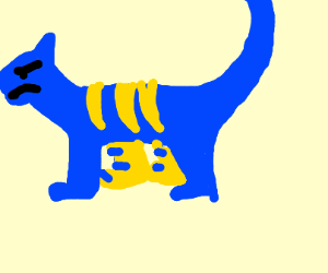 angry blue-and-yellow tiger