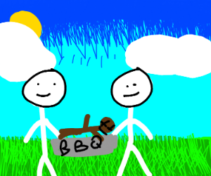 Two cannibal barbecuing a man