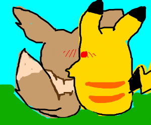 Pikachu hugging Eevee (Pokémon)