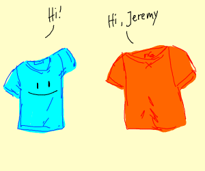 T-shirts greet each other.