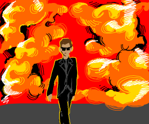 cool dude walking away from explosion