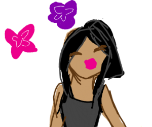 A short hair anime girl is happy :)