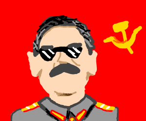 Guy with really black glasses is a communist