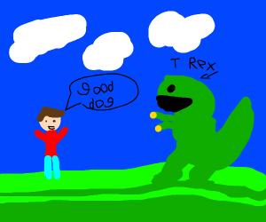 """A guy calling a dinosaur a """"good doggo"""""""