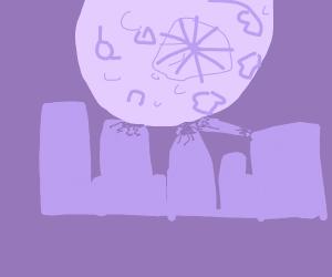 moon crashes into a city
