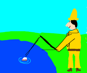 Man in the yellow hat goes fishing