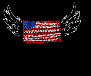 American flag with wings