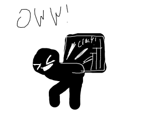 Shadow figure breaking his back with crate