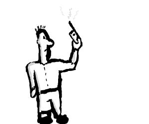 holding a walkie-talkie