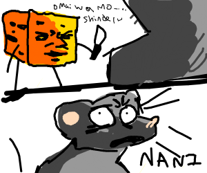 the cheese sneaks up behind mouse
