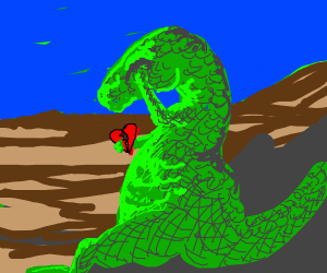 Crying green dinosaur w/broken heart