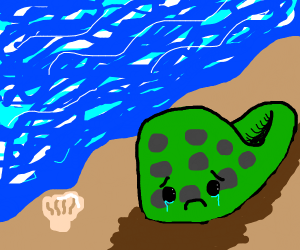 sad croc on a beach