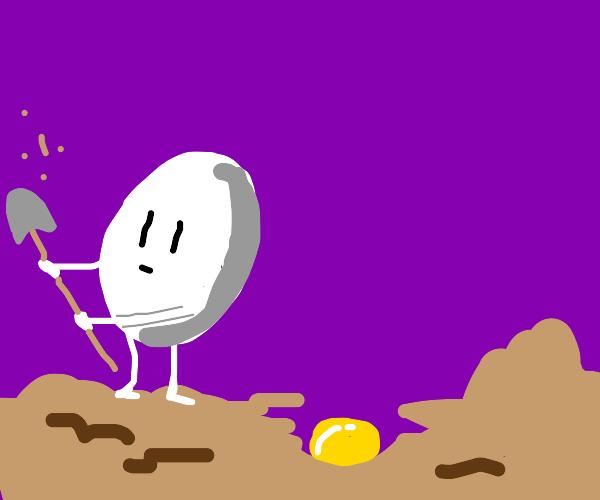 An egg digs up buried yolk