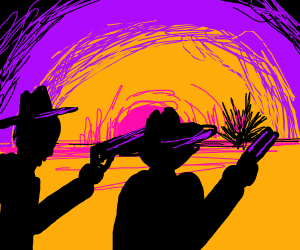 2 cowboys shooting a tumbleweed
