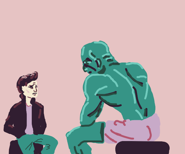 the fonz has a discussion w/ giant bald hulk