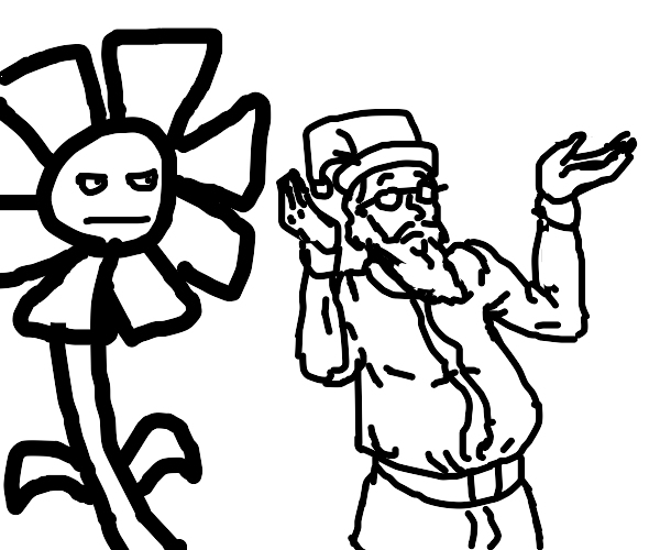 Santa Claus shrugs at a Flower