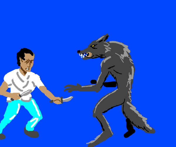 Man with knife and werewolf fight