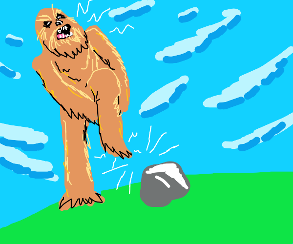 chewbacca stubs his toe on a rock