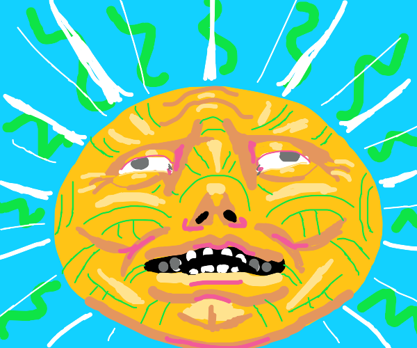 Sun wears face mask made of snakes