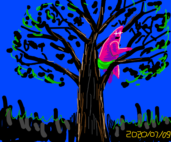Patrick Star in a tree