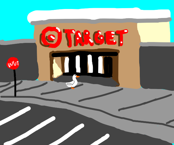a duck walks up to a target store
