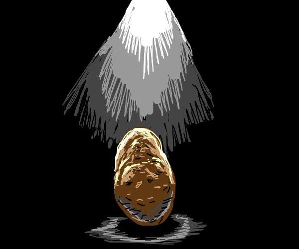 potato on a spot light