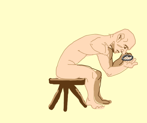 Man sitting on a stool with magnifying glass