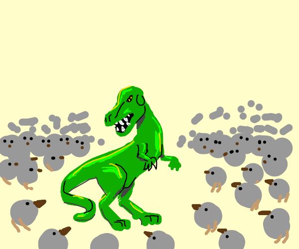 T. rex vs One Million Dodo Birds!