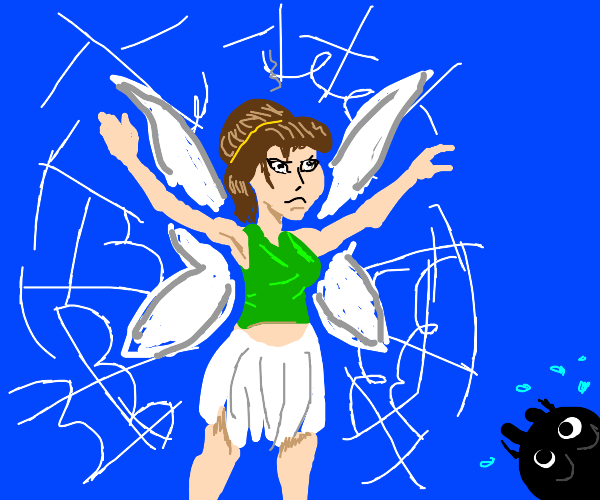 Angry fairy stuck in scared spider's web