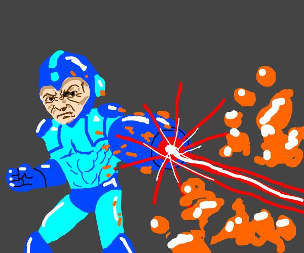 Mega Man killing an orange slime.