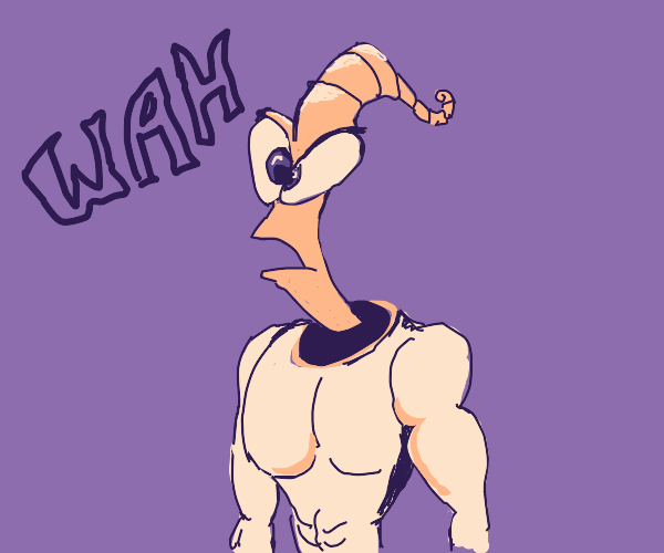 worm thing (looks like man part) says WAH