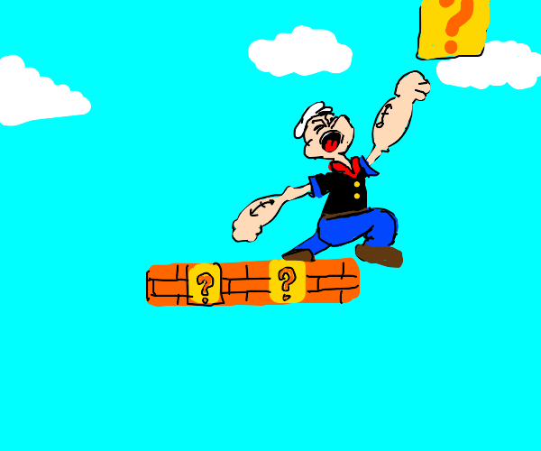 Popeye jumping over blocks like Mario