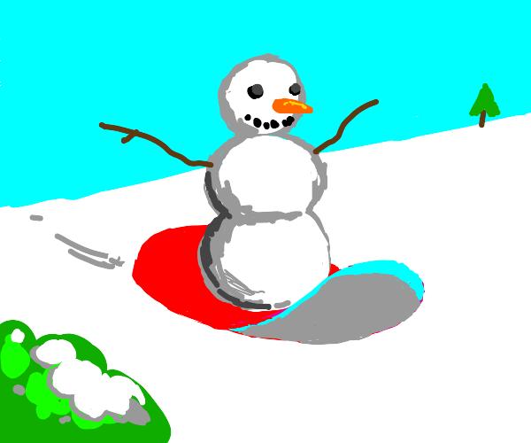 Snowman goes sledding