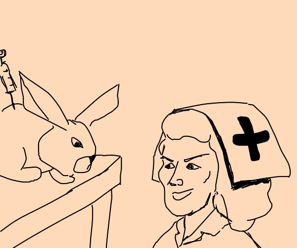 2 nurses cant stop stabbing bunnies