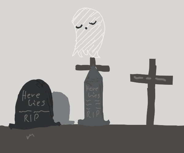 ghost hovering over a graveyard